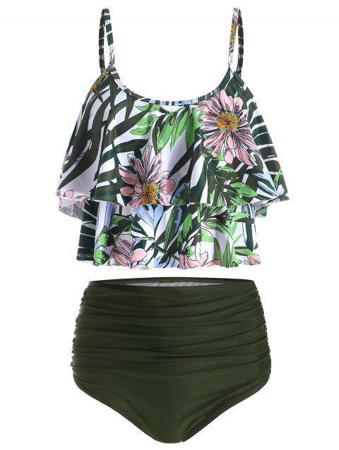 Floral Print Overlay Ruched Tankini Swimsuit - DARK FOREST GREEN L
