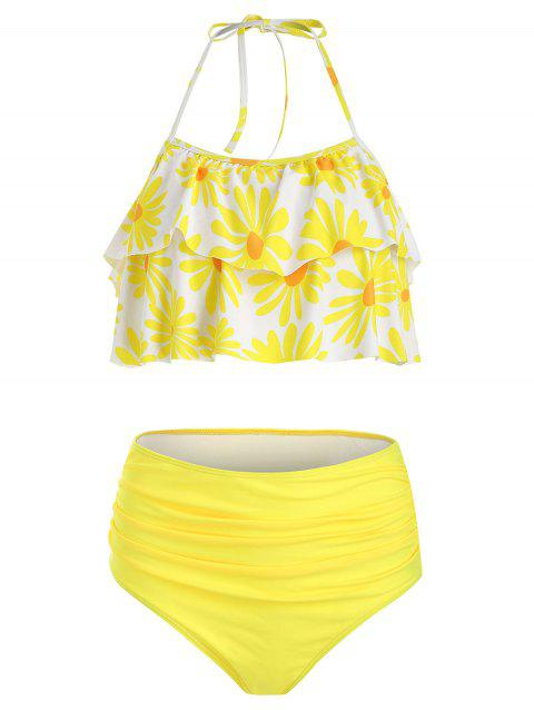 Flower Print Flounce Halter Bikini Swimsuit - YELLOW 3XL