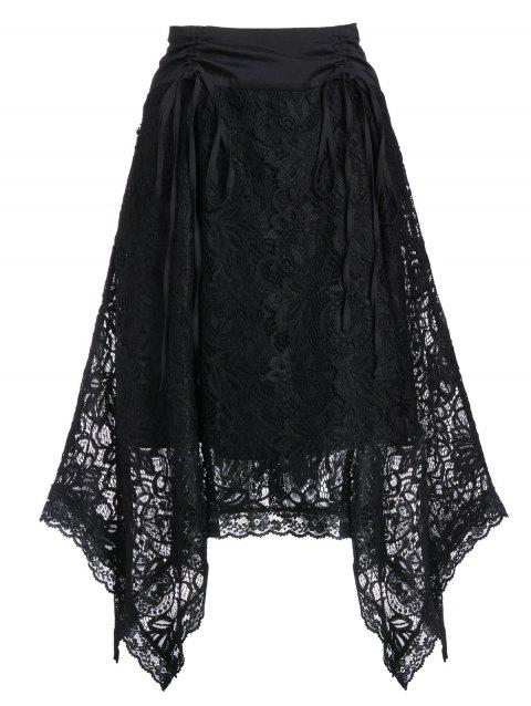 Asymmetrical Lace High Waisted Cinched Skirt - NIGHT 2XL