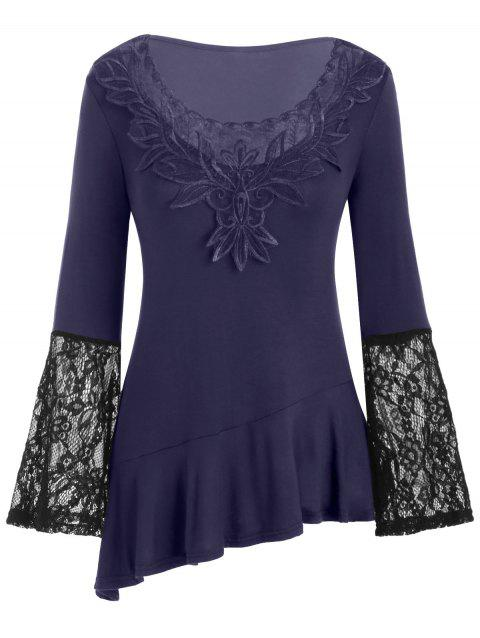 Embroidery Flare Sleeve Lace Panel Flounce Tee - DEEP BLUE 3XL
