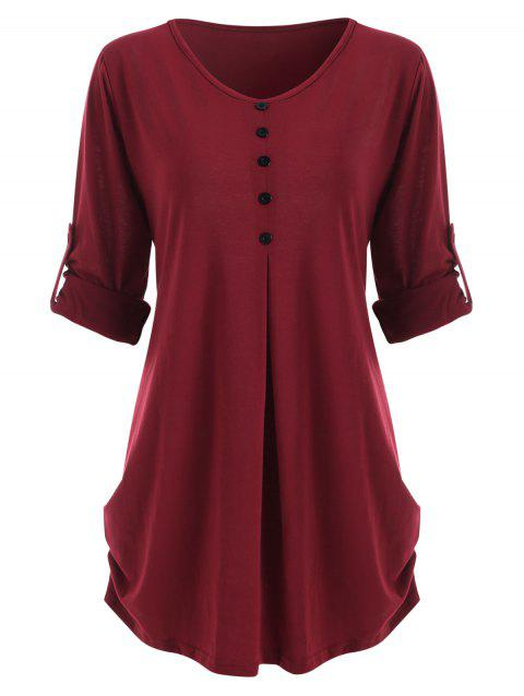 Plus Size Roll Up Sleeve Curved T-shirt - RED WINE 4X
