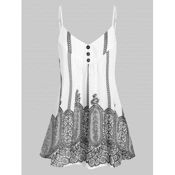 Printed Front Button A Line Tunic Cami Top
