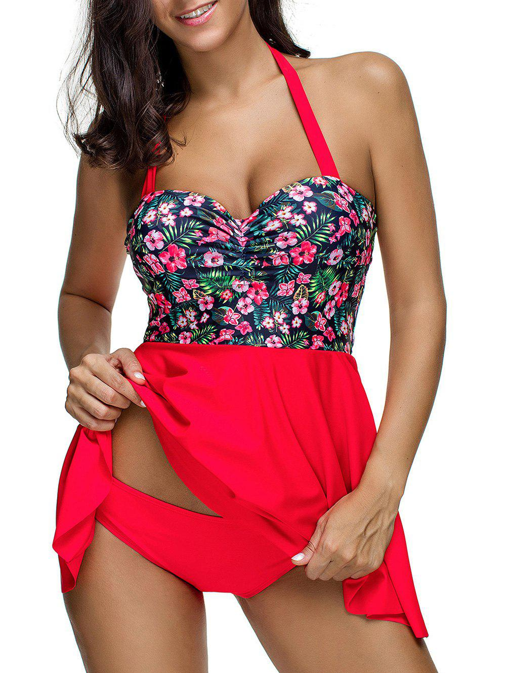 Floral Print Ruched Skirted Tankini Swimsuit - RED M