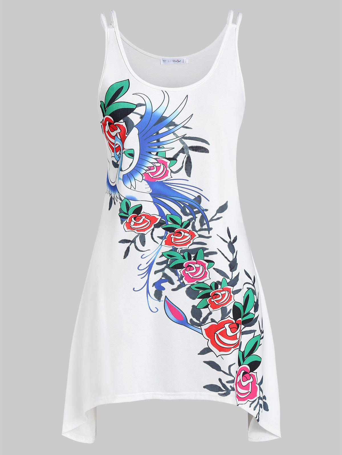 Plus Size Floral Print Sharkbite Tank Top - WHITE 1X