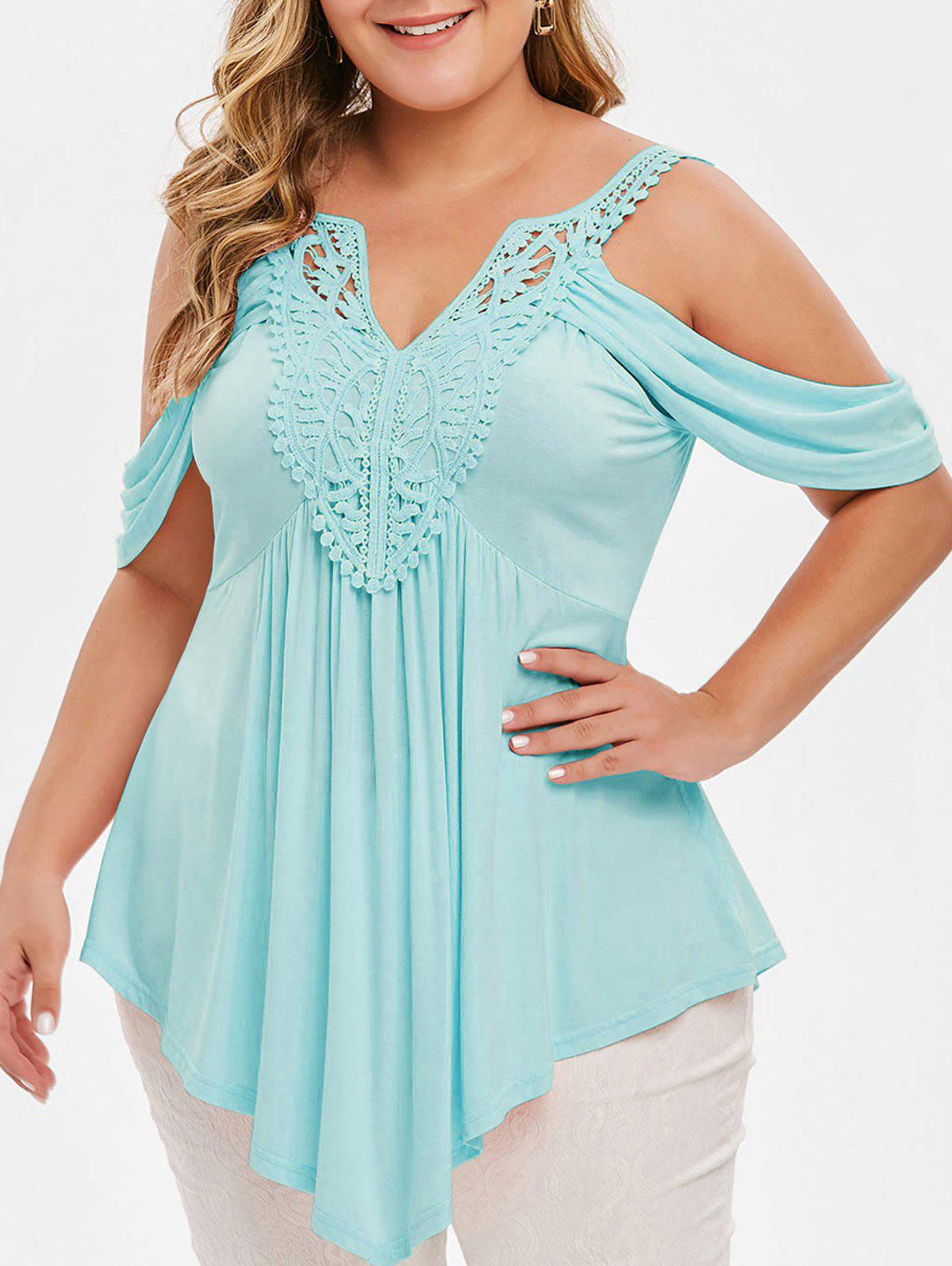 Plus Size Open Shoulder Lace Crochet T-shirt - DAY SKY BLUE 5X