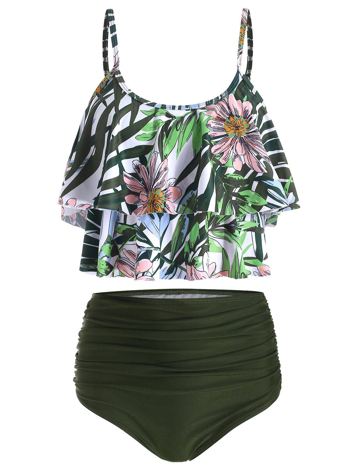 Floral Print Overlay Ruched Tankini Swimsuit - DARK FOREST GREEN M