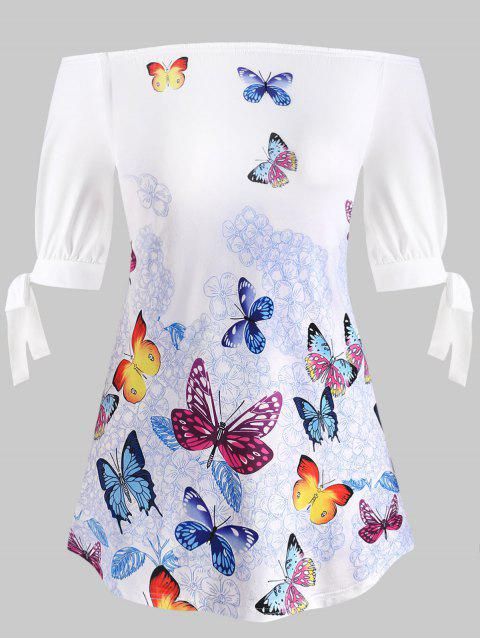 Plus Size Off The Shoulder Butterfly Print T-shirt - WHITE 5X