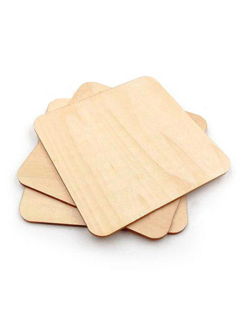 10Pcs DIY Square Shaped Unfinished Wood Chips - BURLYWOOD