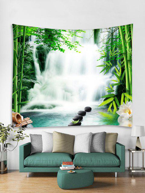 Bamboo Waterfall 3D Print Tapestry - multicolor A W59 X L51 INCH