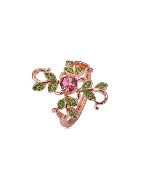 Floral Leaf Copper Rhinestone Ring - GOLD