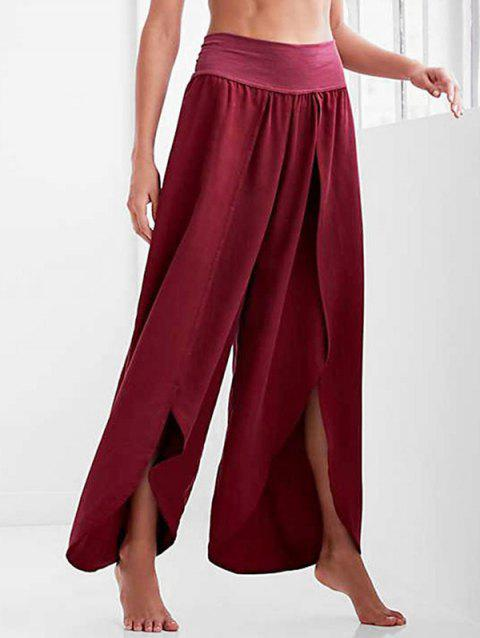 High Waisted Loose Tulip Pants - RED WINE XL