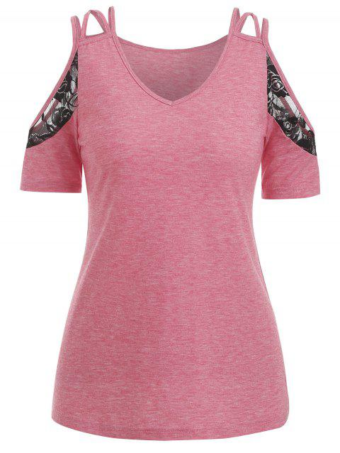 Lace Insert Cold Shoulder Marled T Shirt - FLAMINGO PINK XL