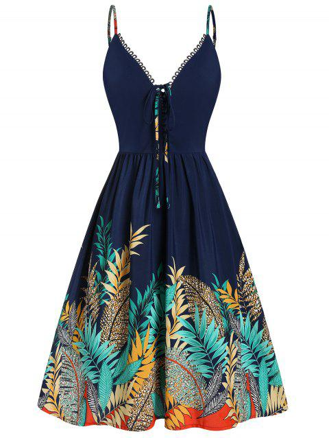 Lace Up Tropical Print Flare Dress - CADETBLUE XL