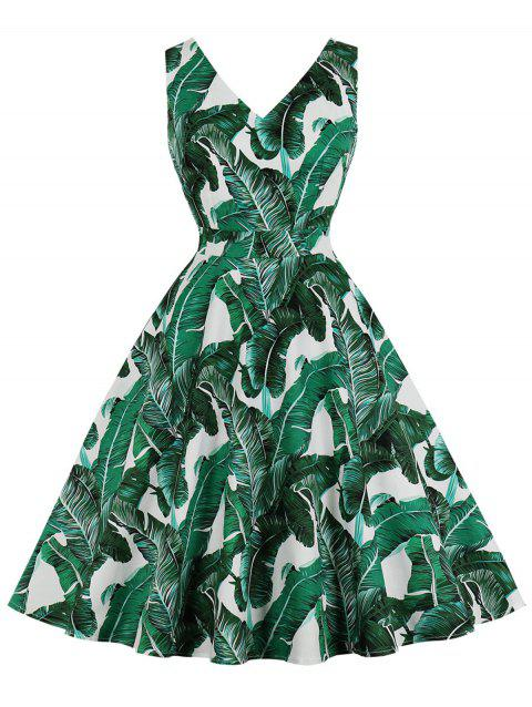 Robe à motif de feuilles tropicales - Vert Jungle S