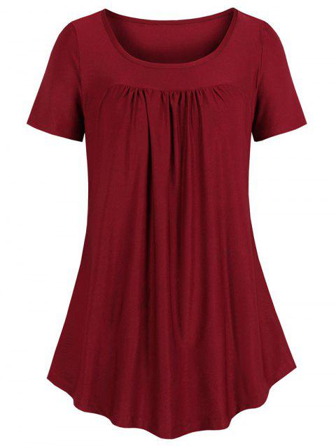 Curved Hem Pleated Tunic - RED WINE 2XL