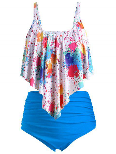 Plus Size Splatter Paint Overlay Ruched Tankini Swimsuit - multicolor B L