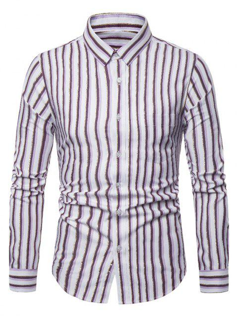 Striped Pattern Casual Long Sleeves Shirt - PLUM PIE 2XL