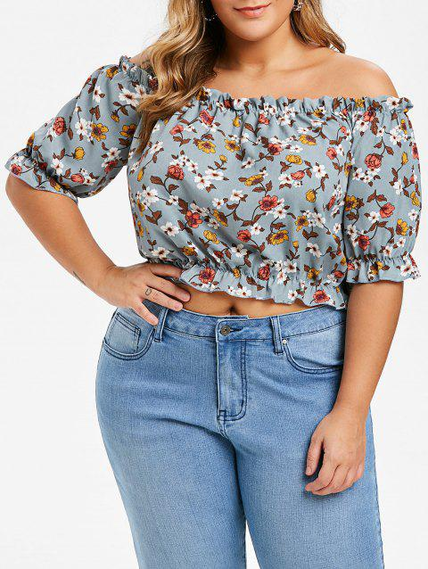 Floral Frilled Plus Size Off The Shoulder Top - BLUE GRAY 4X