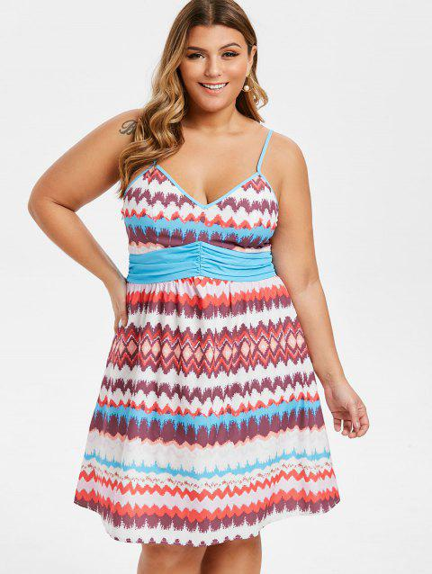 41% OFF] 2019 Plus Size Ruched Zigzag A Line Dress In Multicolor ...