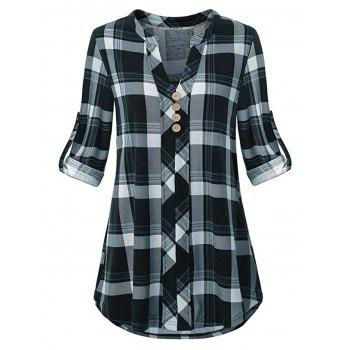 Plus Size Plaid Roll Tab Sleeve Blouse