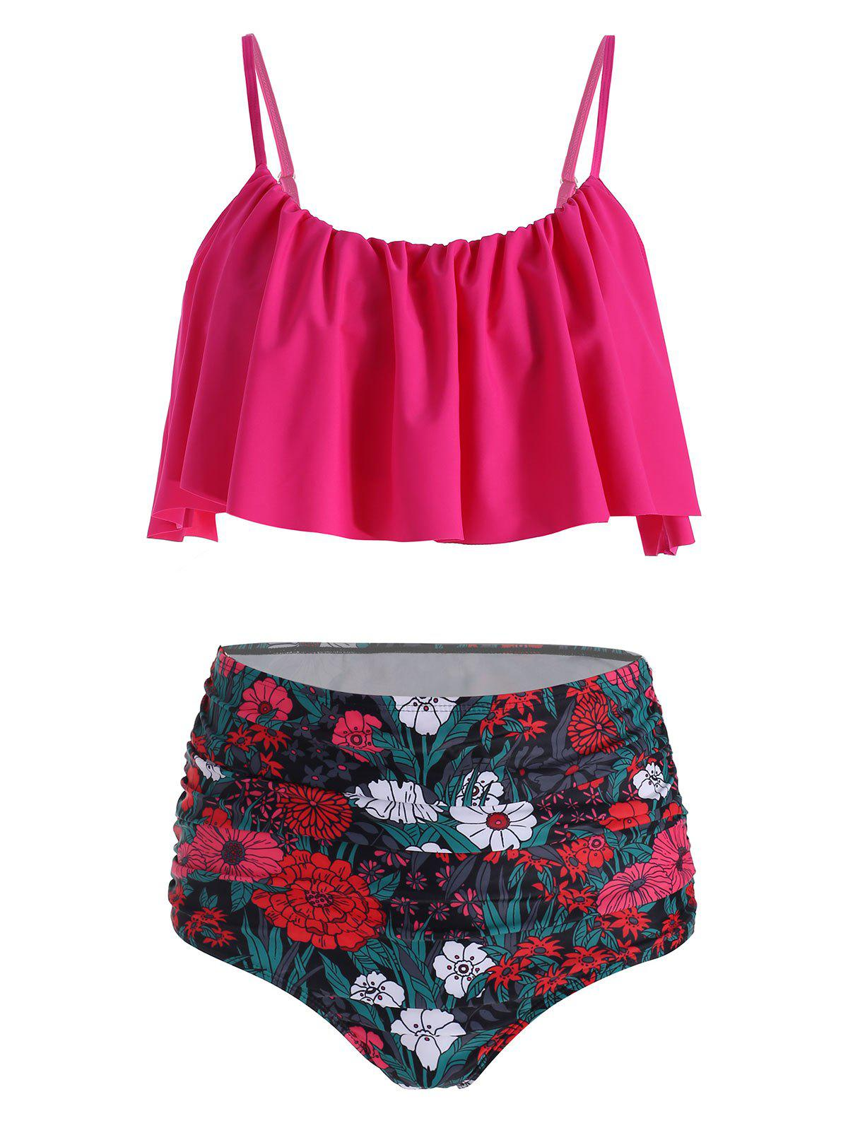 Floral Print Ruched Overlay Bikini Swimwear - ROSE RED S