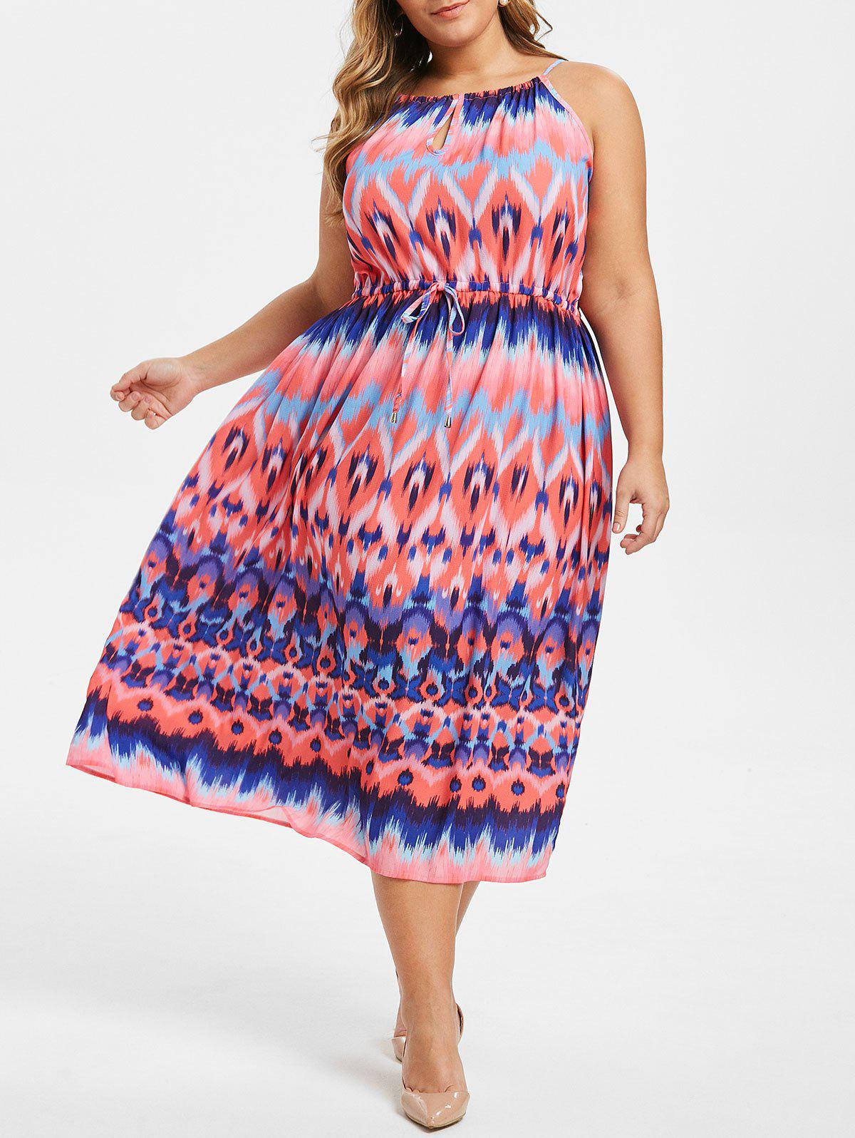 Zigzag Keyhole taille Robe Taille Plus Drawstring - Rouge Haricot 1X