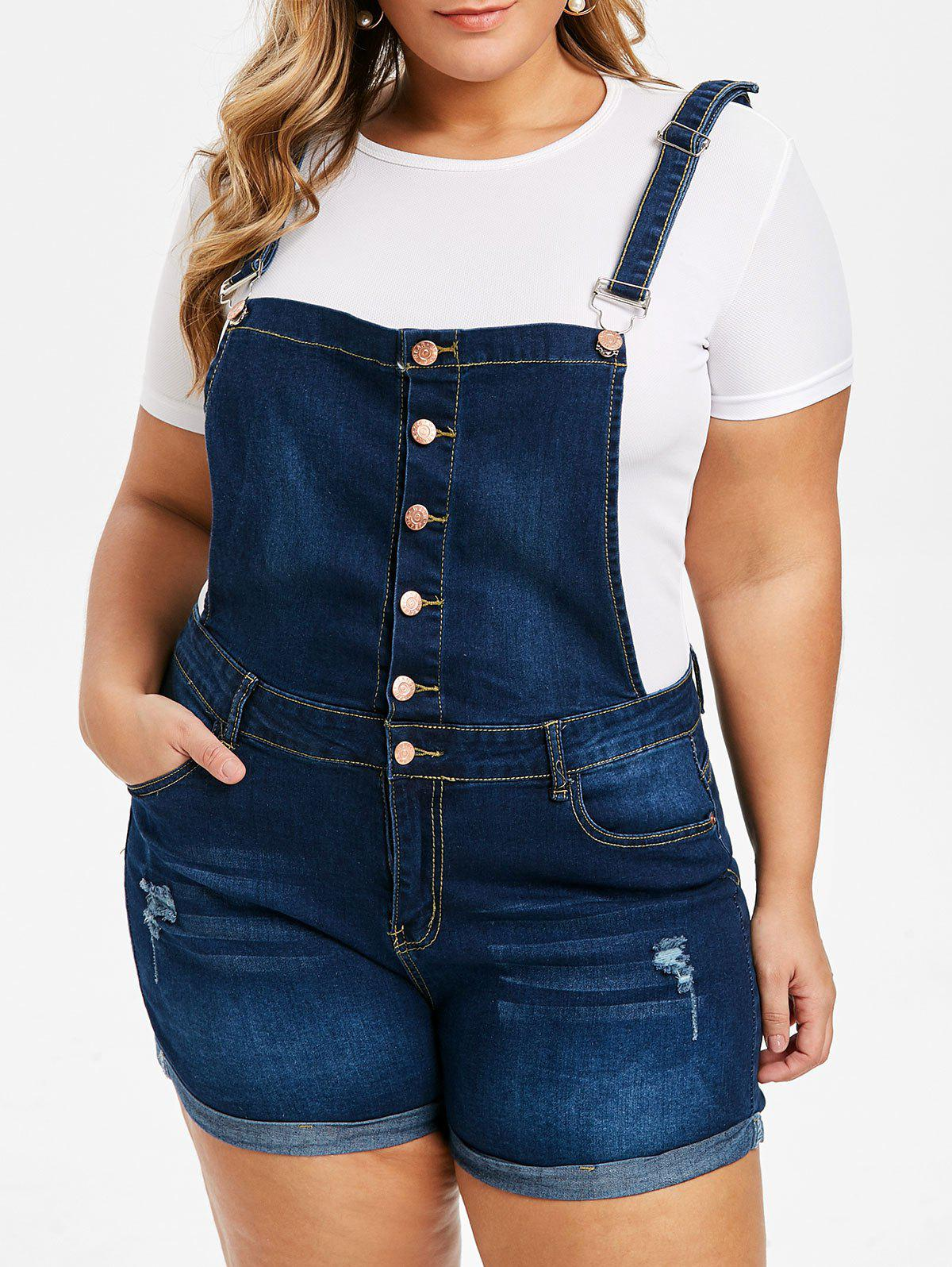 Button Fly Cuffed Distressed Plus Size Denim Overall Shorts - DENIM BLUE L