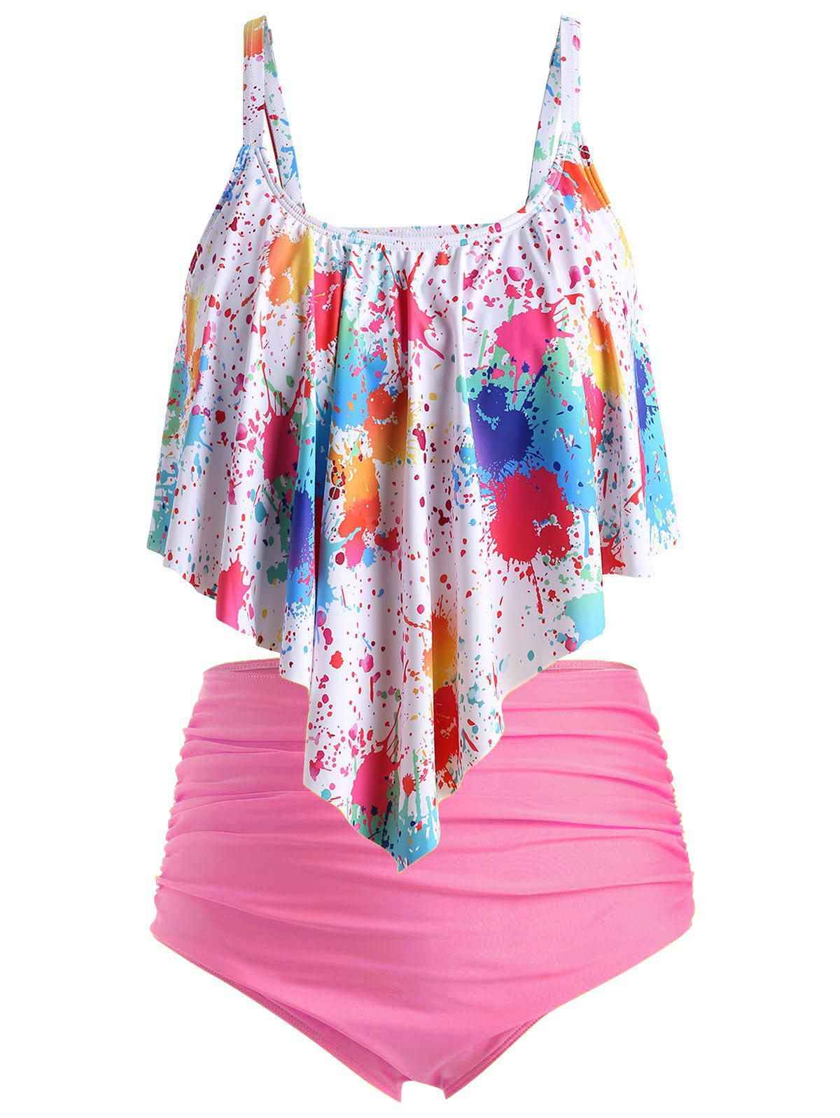 Plus Size Splatter Paint Overlay Ruched Tankini Swimsuit - multicolor D 2X
