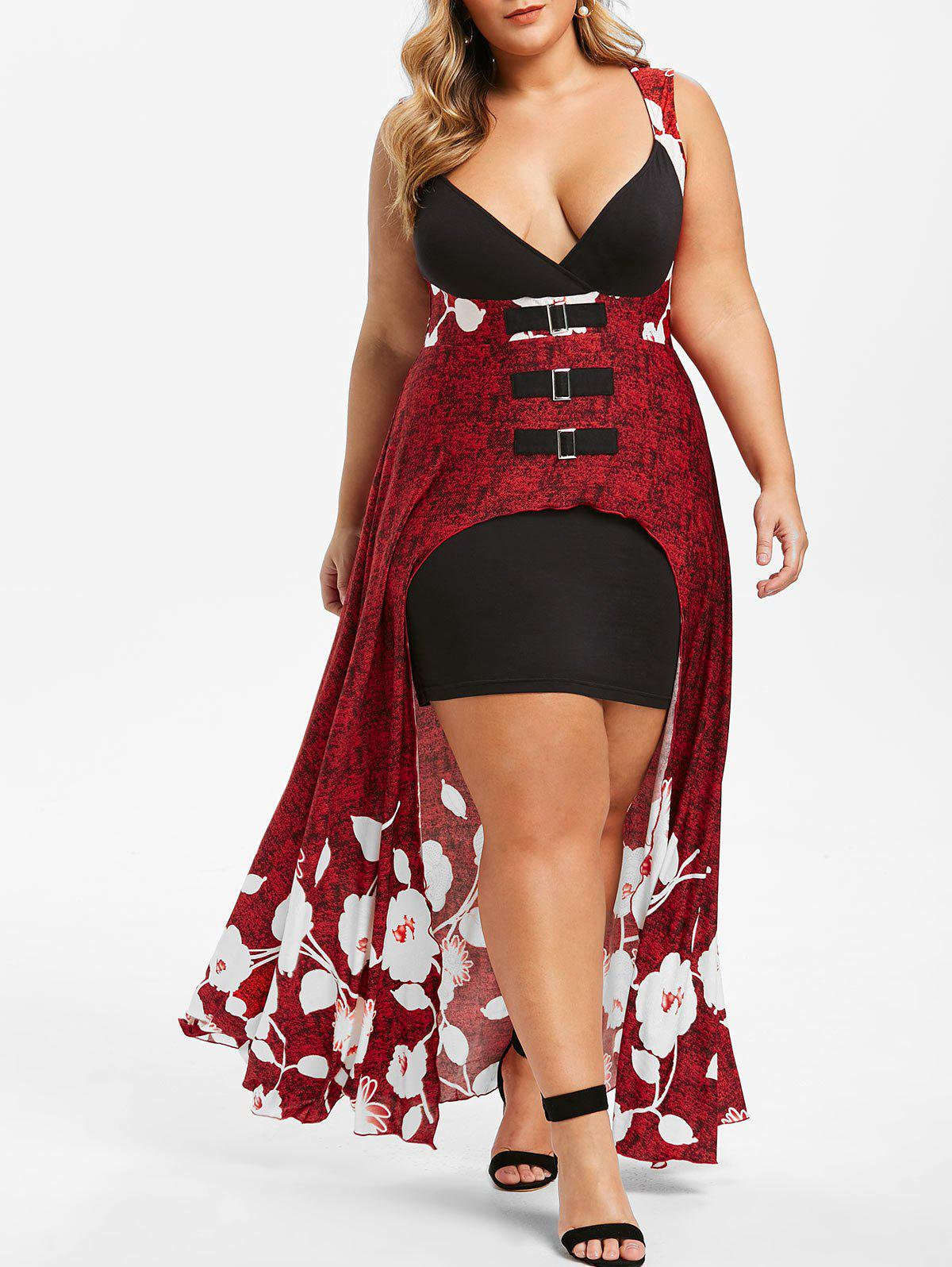 Plus Size Floral Buckle Sleeveless Dress - RED WINE L
