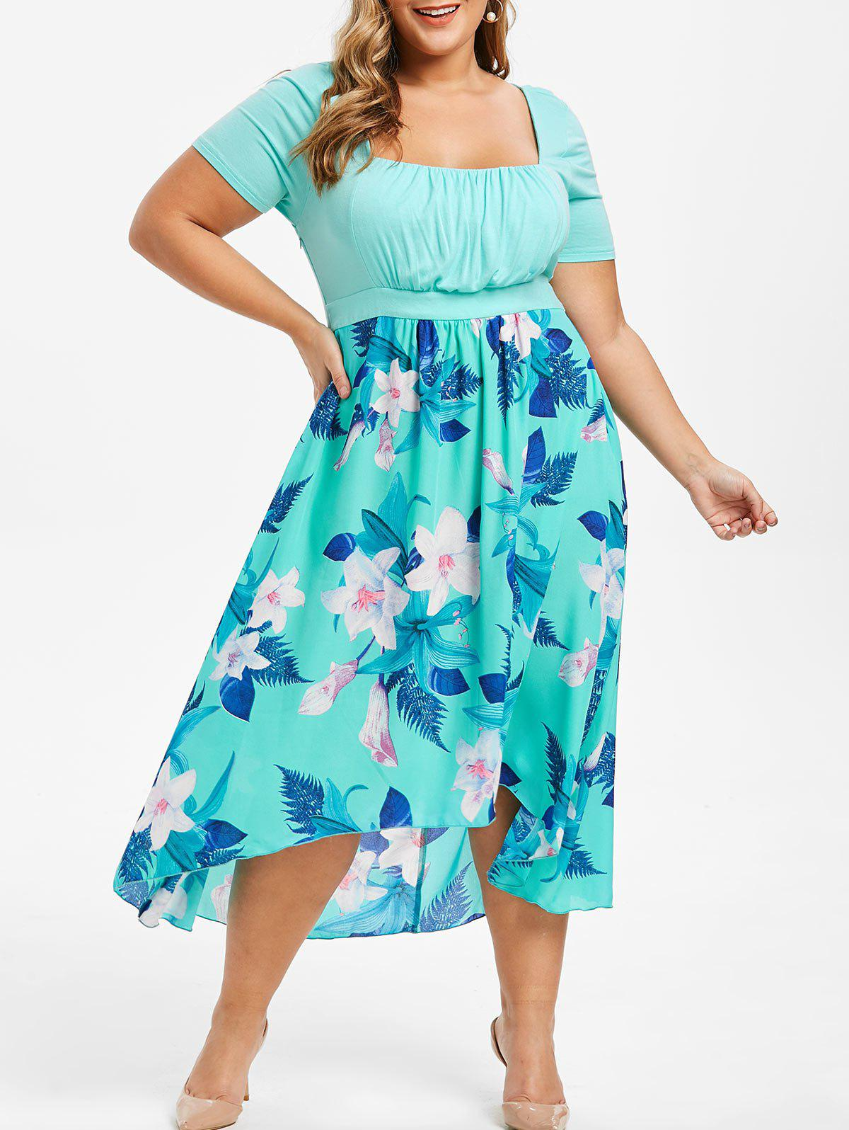 Plus Size High Low Ruched Floral Maxi Dress - MEDIUM TURQUOISE L