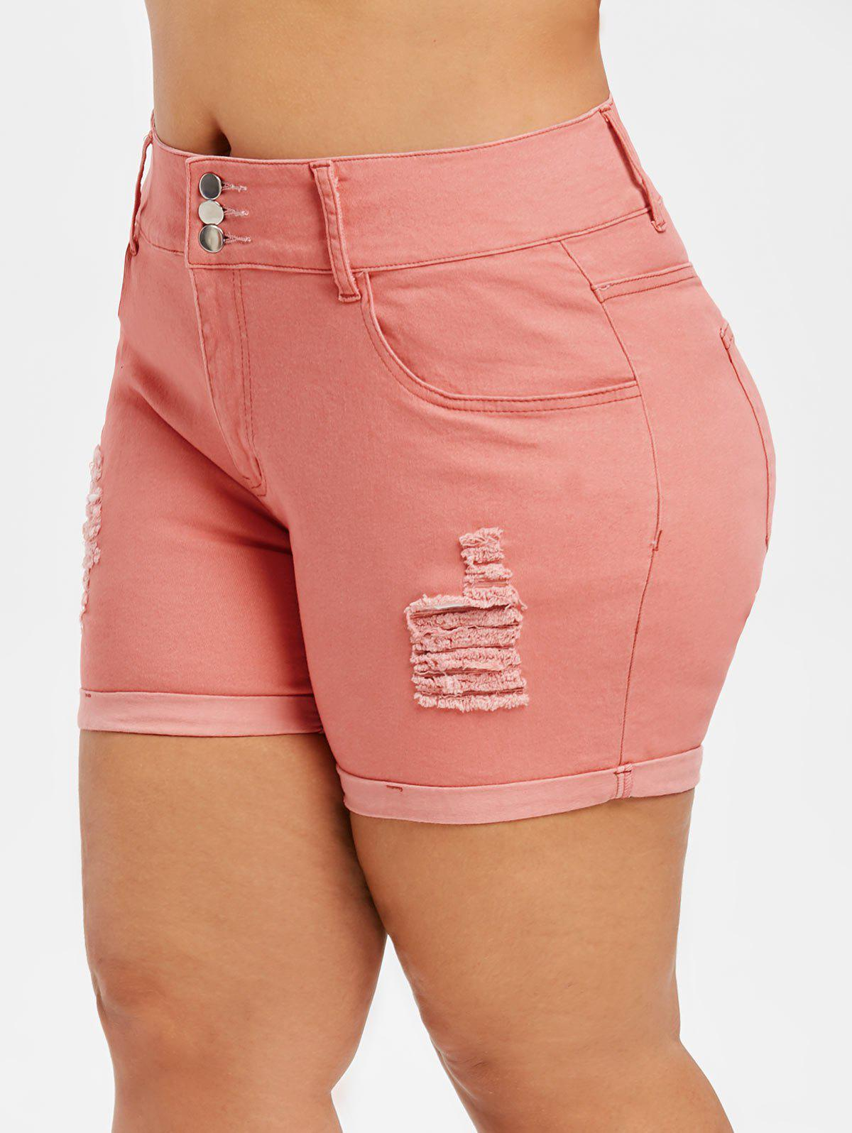 Short taille haute en denim déchiré - Orange Rose 1X