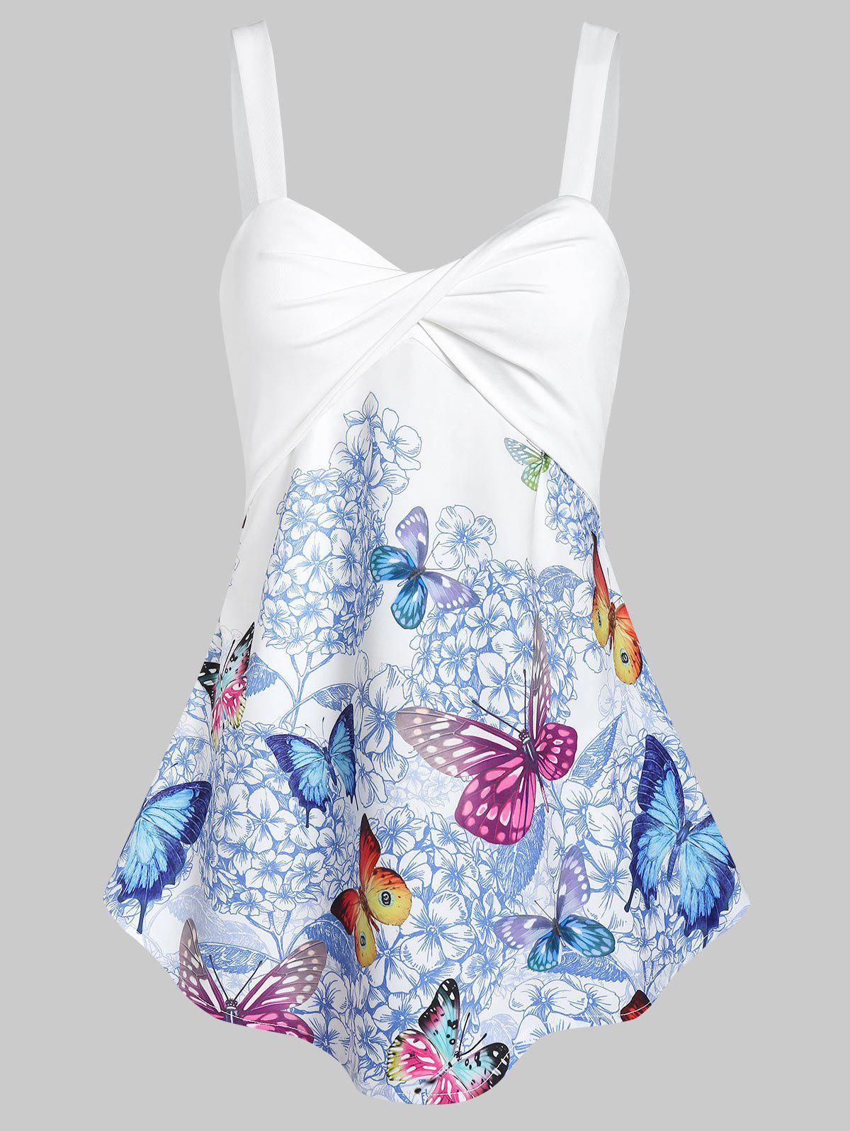 Front Twist Floral Butterfly Tank Top - WHITE XL