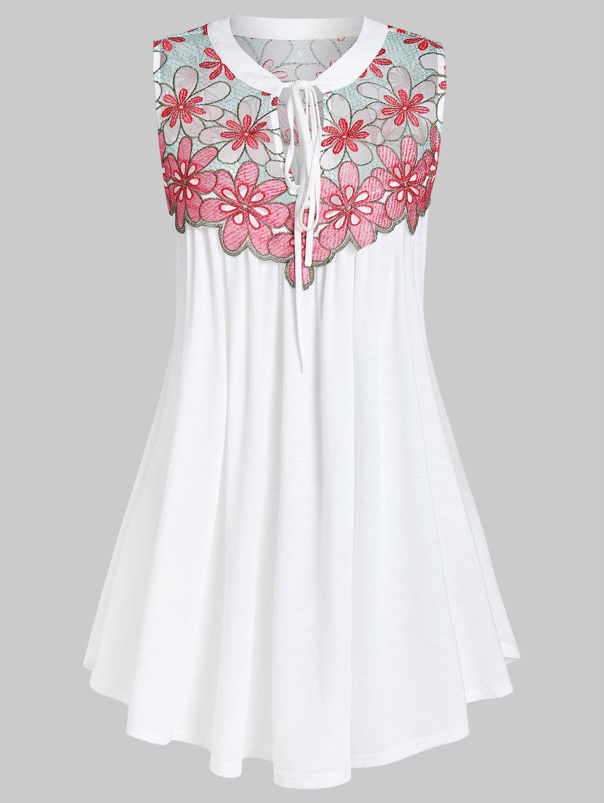 Plus Size Embroidery Tie Swing Tank Top - PINK L