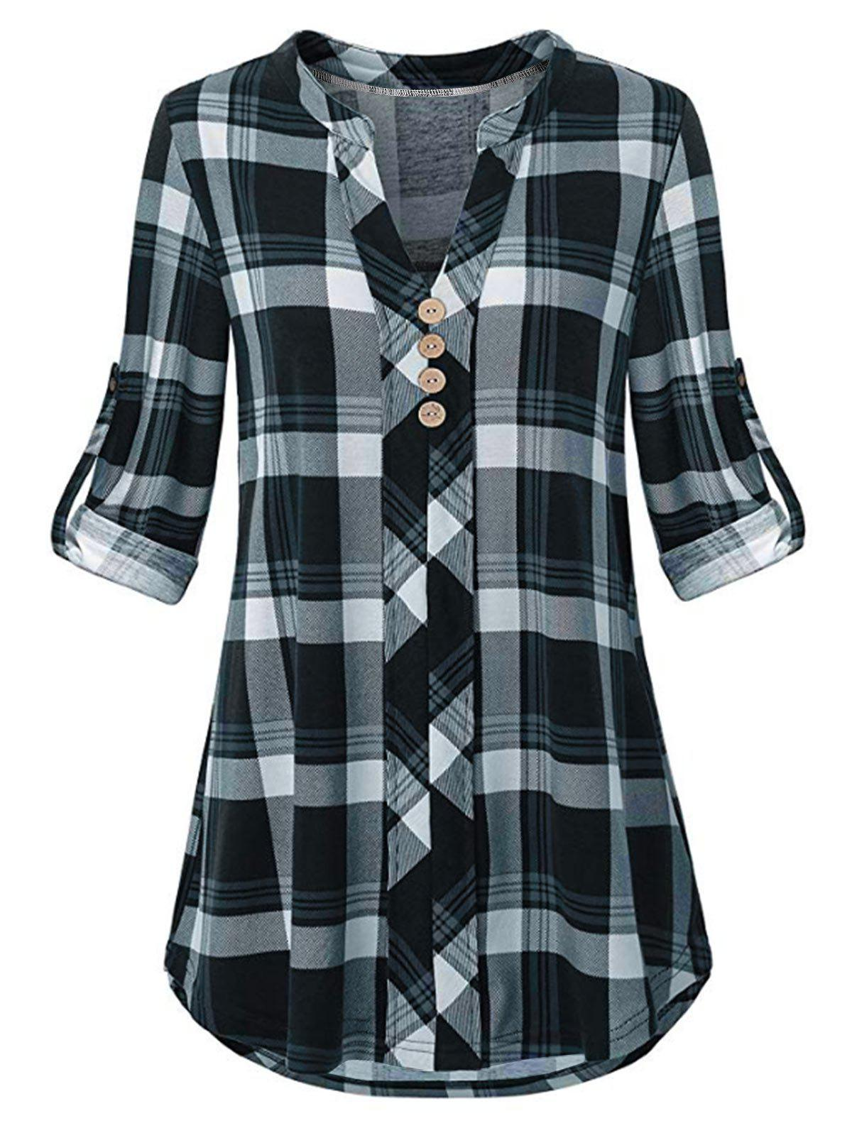 Plus Size Plaid Roll Tab Sleeve Blouse - DARK SLATE BLUE 3X