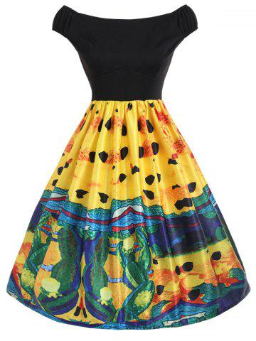 Painting Fit and Flare Vintage Dress