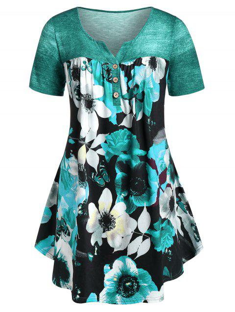 Plus Size Floral Print Curved T-shirt - MACAW BLUE GREEN 2X