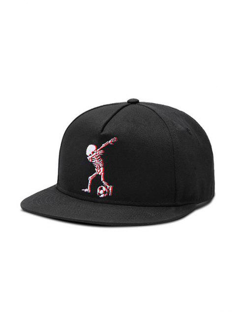 Football Skeleton Flat Baseball Cap - BLACK
