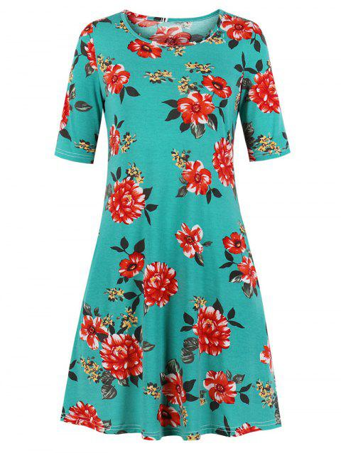 A Line Floral Tee Dress - MACAW BLUE GREEN 2XL