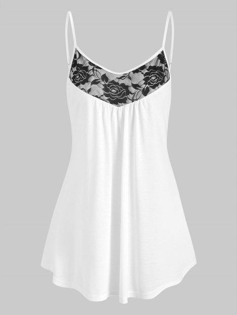 Flower Lace Insert Curved Hem Cami Top - WHITE XL