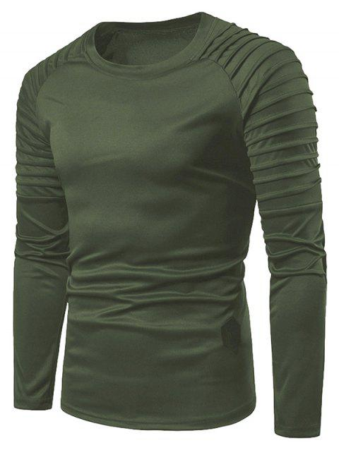 Solid Color Pleated Raglan Sleeve T-shirt - ARMY GREEN L