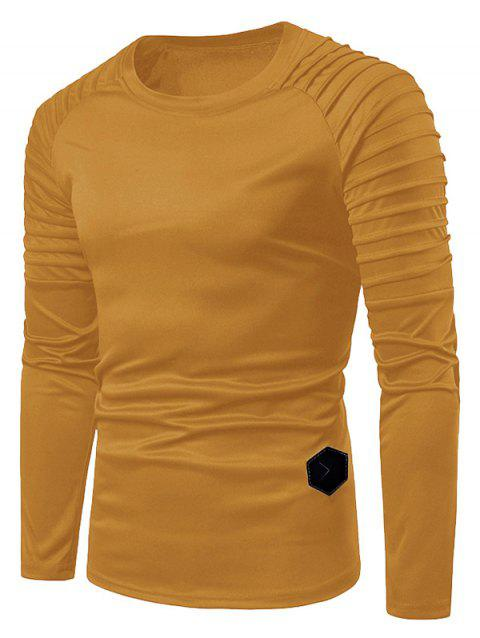 Solid Color Pleated Raglan Sleeve T-shirt - YELLOW L