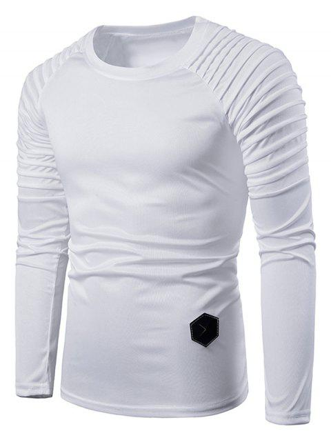 Solid Color Pleated Raglan Sleeve T-shirt - WHITE L