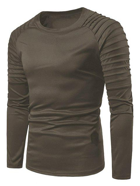 Solid Color Pleated Raglan Sleeve T-shirt - GRAY M