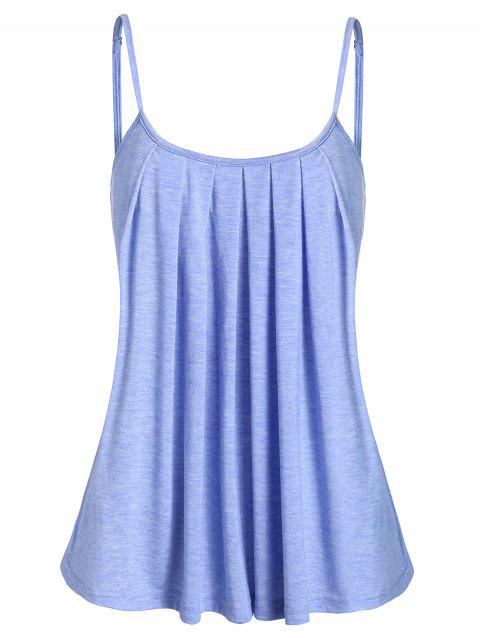 Space Dye Cami Pleated Tank Top - DEEP SKY BLUE S