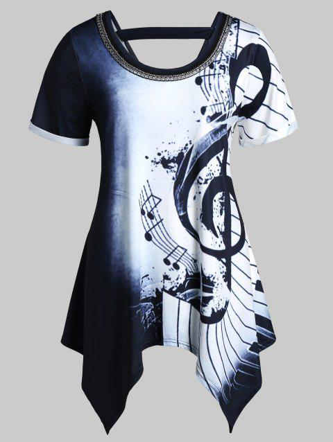Plus Size Asymmetrical Musical Notes Print Chains Embellished Tee - multicolor M