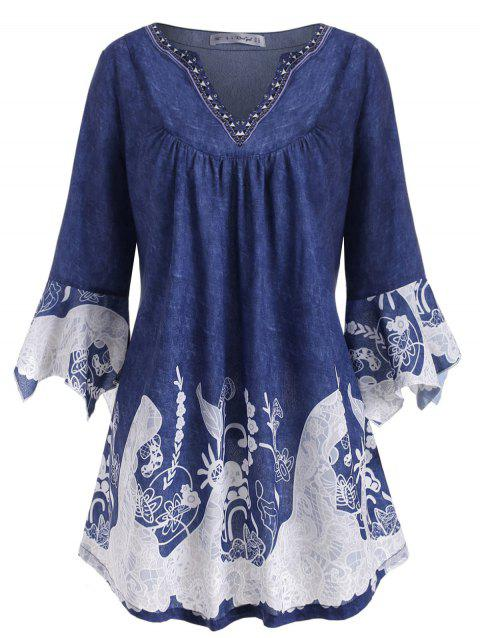 Notched Printed Flare Sleeve Plus Size Top - BLUE 5X