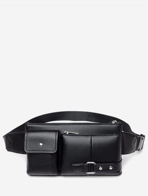 Outdoors Leather Square Waist Bag - BLACK
