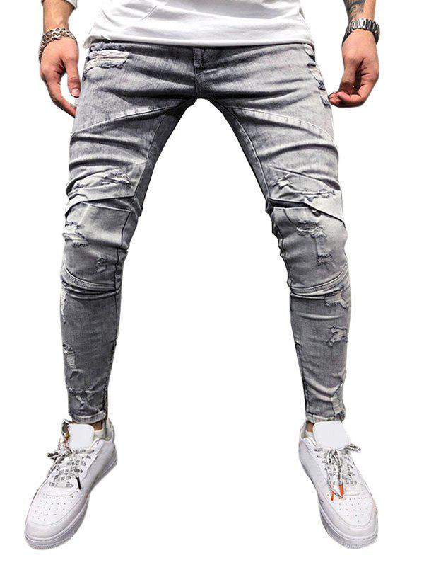 Zipper Decoration Ripped Casual Jeans - GRAY XL