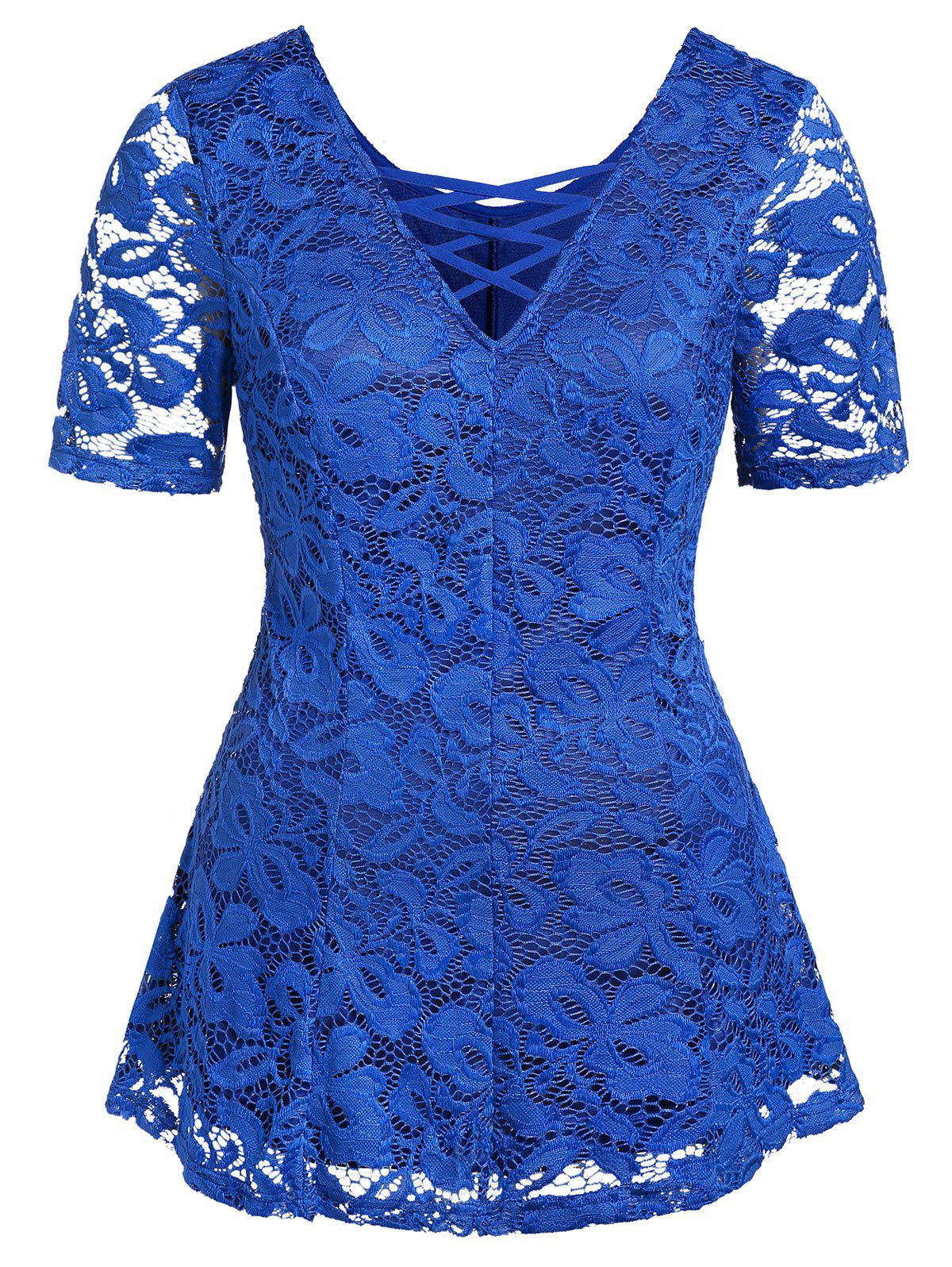 Plus Size Criss Cross Lace Plunge T Shirt - BLUE 1X