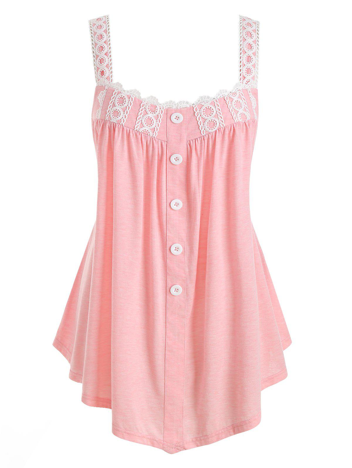 Plus Size Applique Two Tone Button Tank Top - PIG PINK 5X